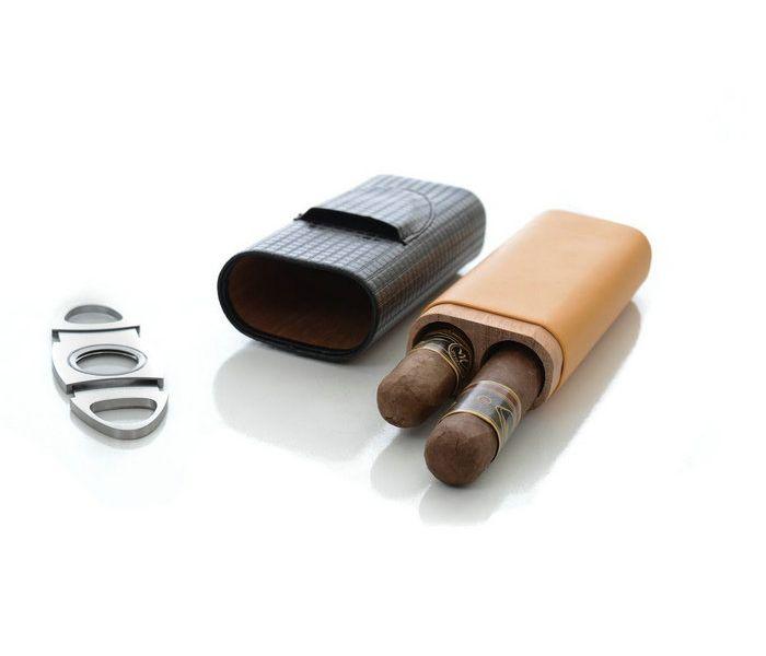 Leather Cedar Wood Lined 2 Tube Cigar Travel Case w Cutter VF-1020