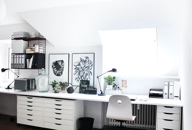 oh what a room: mein Home Office mit großem von-Wand-zu-Wand-Schreibtisch, Ikea ALEX Schränken und String Regal *** my home office with extra large desk, Ikea ALEX storage and String shelf