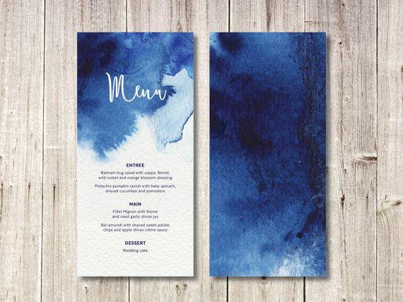 Custom Menu // Navy Blue Watercolour // Wedding by NorthSaltStudio