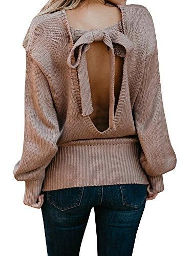 adb7483c9a Oversized Backless Long Sleeve Cable Knit Pullover Sweater