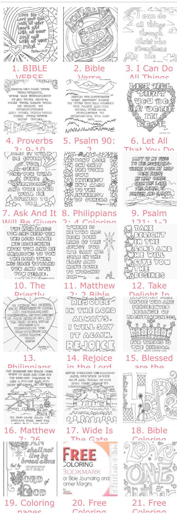 20 Free Adult Bible Coloring Pages (you should see the images on the page but in some browsers it takes a while to load.