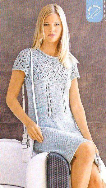 [club60393515| Платье с ажурной кокеткой ] #Платья@v.k.uyutnoyevyazaniye