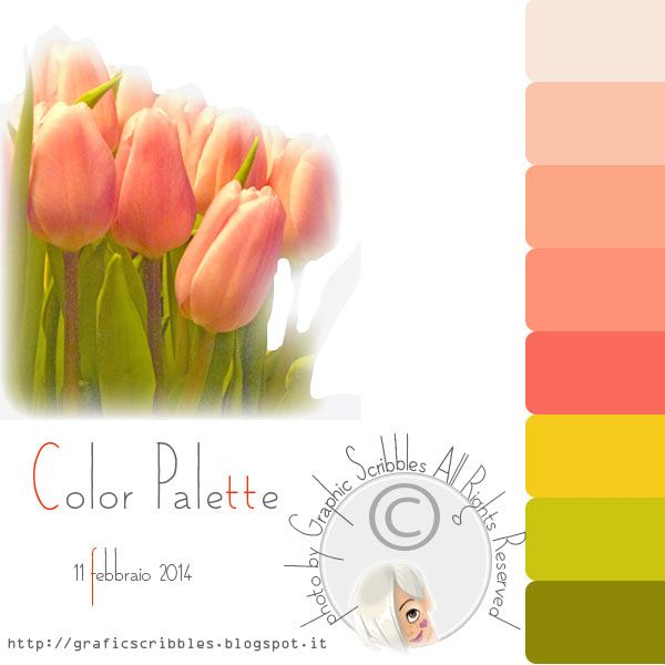 Color palette of 11 febberaio 2014 http://graficscribbles.blogspot.it/2014/02/palette-colori-tulipoano-rosa-verde.html