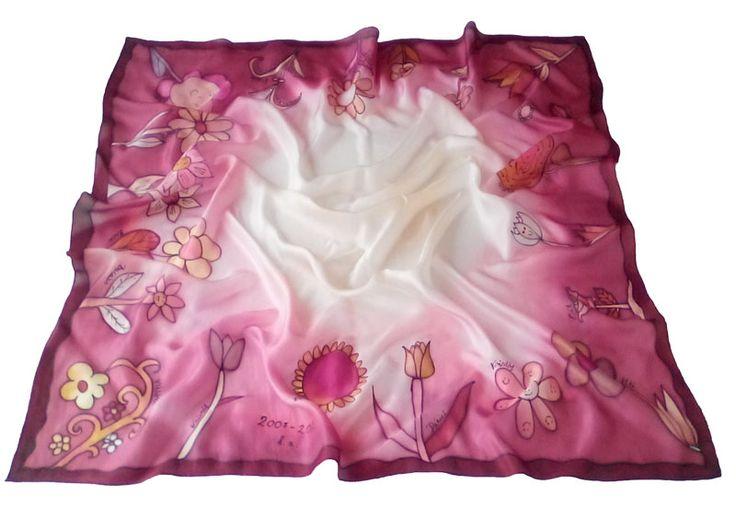 Gyerekek által rajzolt virágokból készült selyemkendő - ajándék ötletek ballagásra óvónéniknek, tanároknak: http://silkyway.hu/viragos-kendo-gyerekrajzbol-ajandek-ovoneniknek.html