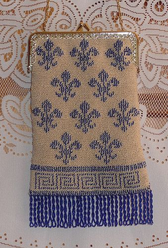 Beaded knitted purse