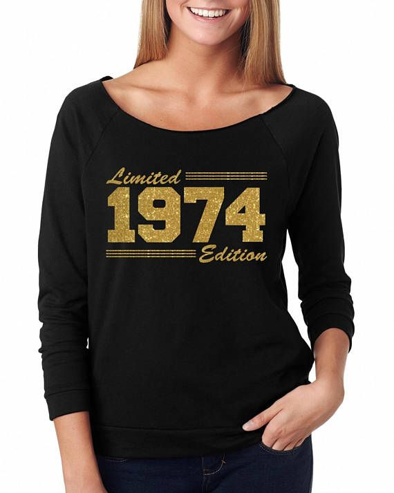 Womens Birthday Shirt 44th 44 Off The Shoulder Gift For Her Limited 1974 Edition