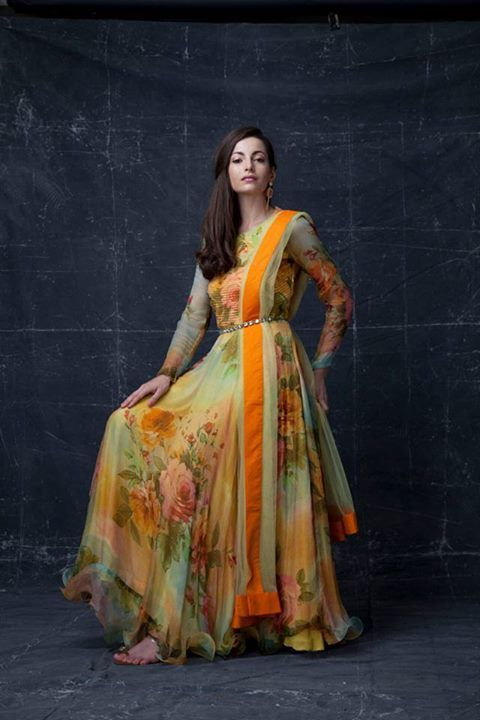 floral chiffon anarkali - Google Search