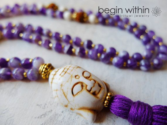 Amethyst Mala Beads / Prayer Beads - Rudrakshas, White Buddha - Buddhist Meditation Beads - Divine Protection via Etsy