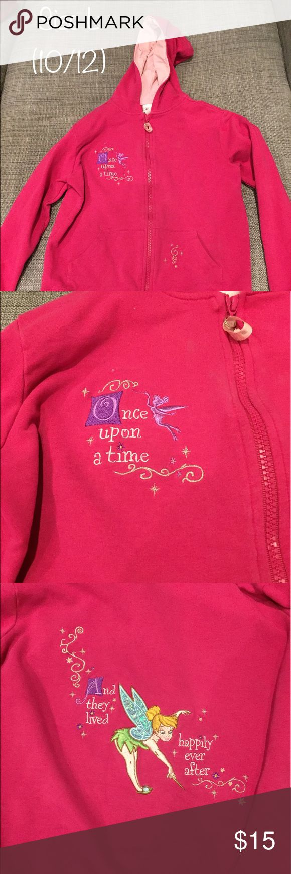 """Girls Pink Tinkerbell zip up hoodie size 10/12 What little girl doesn't want to live """"happily ever after""""?? Here is a lightly used pink zip up hoodie with Tink on the front and back Disney Jackets & Coats"""