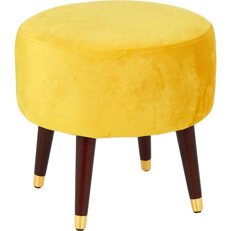 Yellow Velvet Round Footstool 44x45cm Footstools