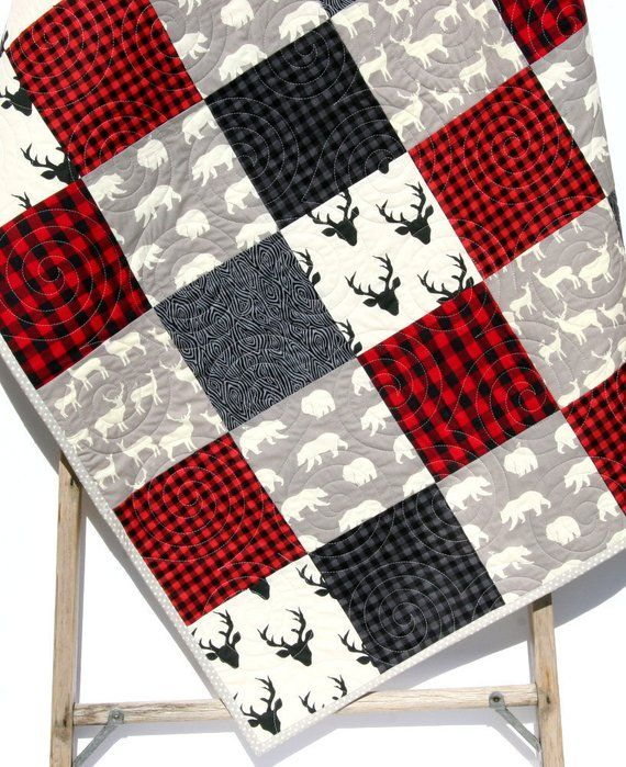 Buffalo Plaid Quilt Lumberjack Blanket Deer Baby Blanket Lumberjack Plaid Buffalo Check Red Buffalo Plaid Quilt Buffalo Boy Quilt Quilt Modern Baby Bedding Woodland Baby Bedding Red Bedding