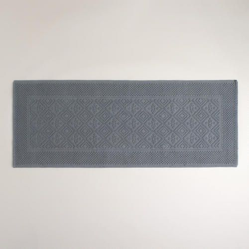 One of my favorite discoveries at WorldMarket.com: Gray Woven Bath Mat - Love this extra long bath mat