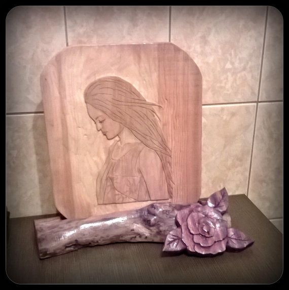 Custom made Portrait in Wood Hand Carved by HandCarvedByNature, $40.00