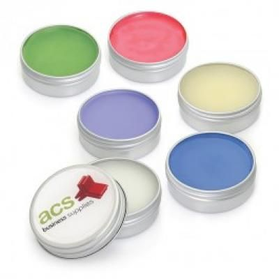 Image of Printed lip Balm In A Aluminium Tin. 10ml Available In 6 Favoures