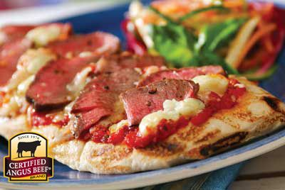 Grilled Pizza with Steak and Blue Cheese Recipe Provided By Certified Angus Beef ®  Gather your family around the grill for pizza night. You put the dough right over the fire!
