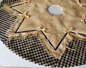 Items similar to SALE! Christmas Tree Skirt - Natural Burlap and Black Homespun Plaid - 44 Inch Diameter - Rustic Country Chic Holiday Home Decor on Etsy