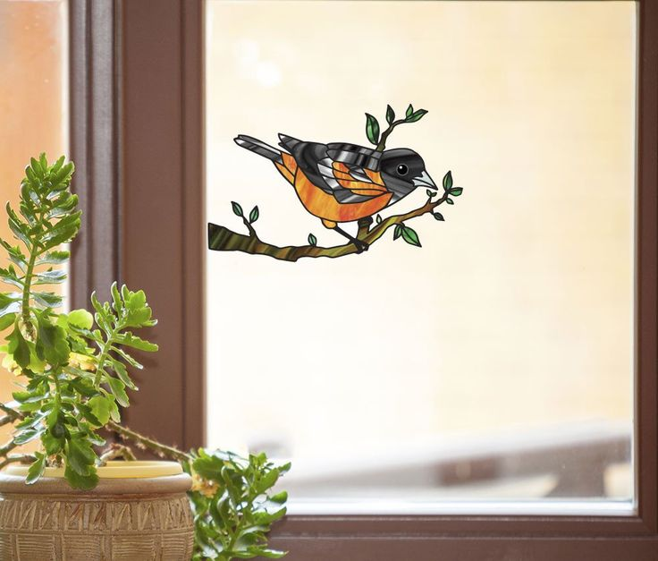 Best SeeThrough Window Decals Look Like Stained Glass Images - Window decals for birds