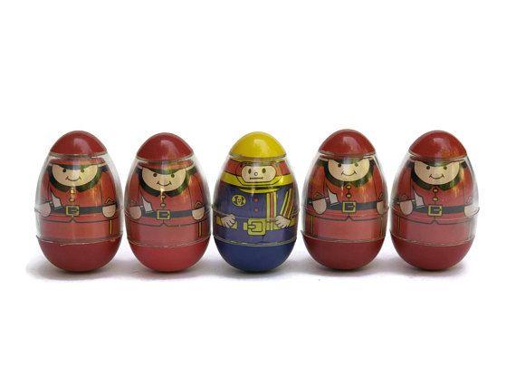 Vintage Weebles Wobble Firefighter Toys. Red Uniform Fireman