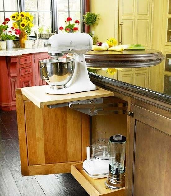 The mixer sits on the shelf in the cabinet and pops up when needed.  There is also a plug in the cabinet, so no need to even mess...