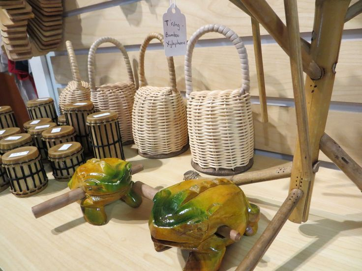 Our favorite noise makers: Frogs, bamboo shakers, caxixis and t'rungs!