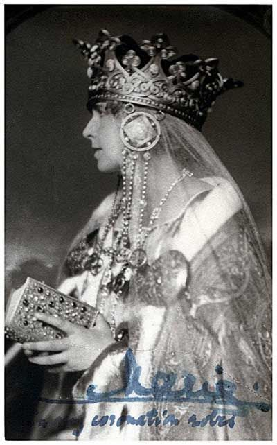 Queen Marie of Romania in her Coronation Robes (signed 'Marie')