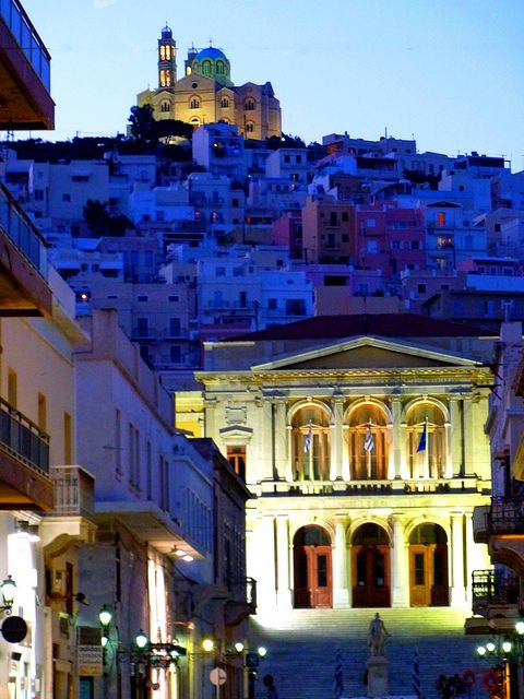 Cityscape, at dusk, Ermoupoli, Syros, Greece