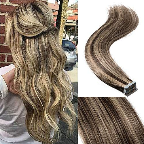 Best Seller 18 40pcs 100g Remy Tape Hair Extensions Human Hair 4P27 Balayage Straight Hair Seamless Skin Weft Invisible Double Sided Tape Two Tone Medium Brown Mix Dark Blonde online