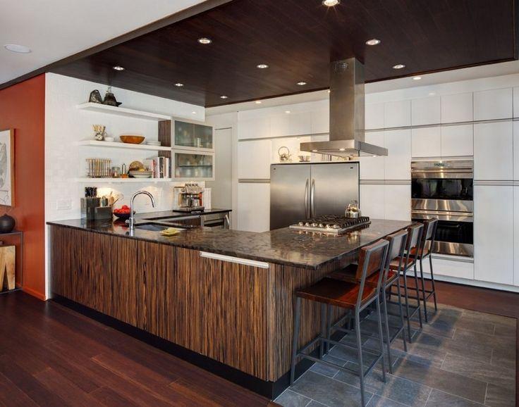 zebra wood veneer kitchen cabinets  Dramatic Kitchen With