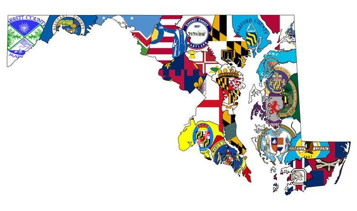 Maryland counties flag map [OC] [1134x673] (x-post from /r/vexillology)