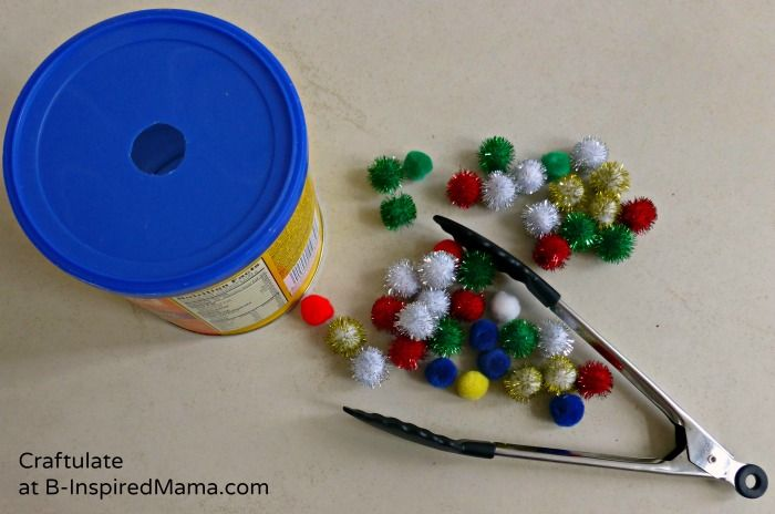 Tongs and Pom Poms for a Toddler Activity #toddler #preschool