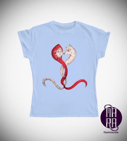 Camiseta Caperucita para mujer Colores disponibles: Blanco - Negro - Rojo - Lila  Tallas disponibles: M http://camaloon.es/descubre/artistas/mara-ilustracion/creaciones/black-cat-white-cat/camisetas-personalizadas/camisetas-personalizadas-mujer/productos