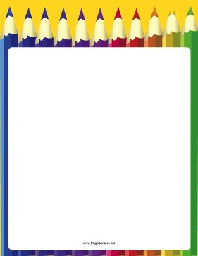 A row of large, pretty coloring pencils make up the background of this printable art border. Free to download and print.