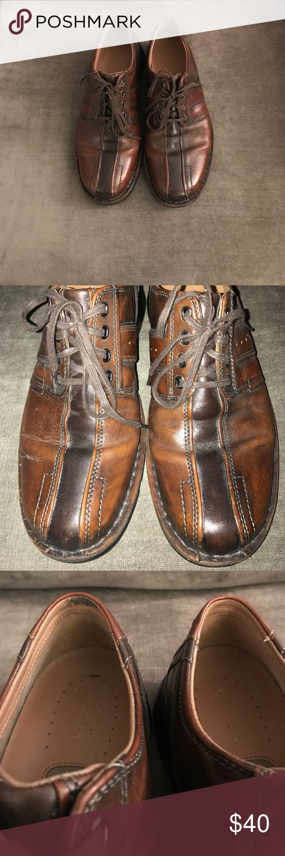 NEW! Men's Clarks Shoes Men's Clarks Touareg Vibe shoes in brown leather. Shoes are lace up with a rubber sole. Size 10. Shoes have minimal wear the back right heel has some peeling as pictured, but soles and outer leather are in great condition. Clarks Shoes
