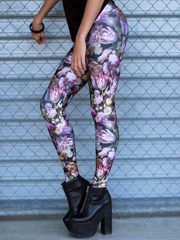 Tulip Mania Leggings (WW 24HR $75AUD / US - LIMITED $60USD) by Black Milk Clothing