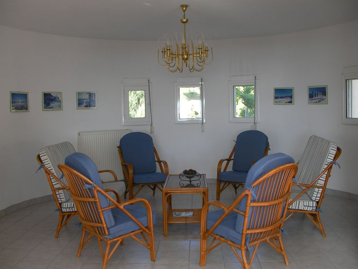 The round end of the lounge at The Tower House, Kos