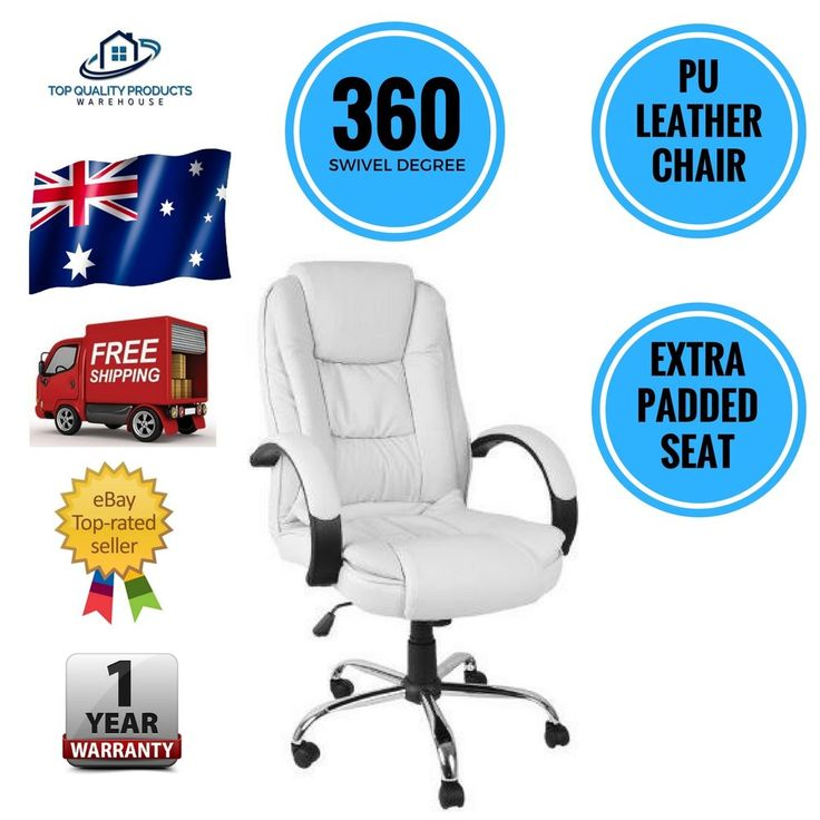 Executive PU Leather Office Computer Desk Chair White Tilt 360 Degree Swivel New