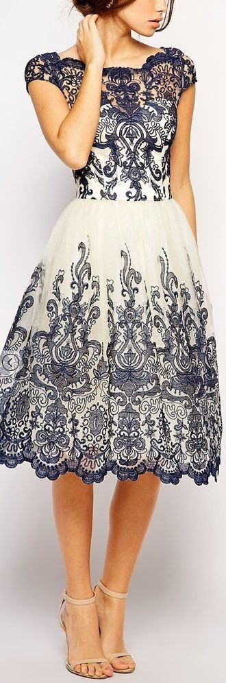 Blue Printed White Neck Lace Dress
