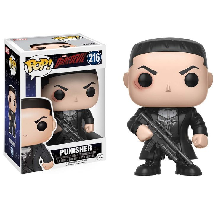This is a Funko Marvel Daredevil POP Punisher Vinyl Figure that's produced by the good folks over at Funko. It's great to see the Punisher in Funko POP style. He looks awesome! Recommended Age: 14+ Co