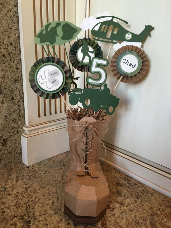 Army boot centerpiece!  This paper made hand crafted military boot makes an adorable centerpiece!! It is completely made from quality card stock