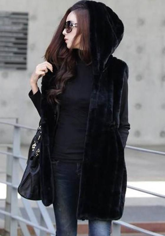 8704c7832d7b5 Black Pockets Faux Fur Hooded Vests Sleeveless Coats. LoverMalls Black  Pockets Faux Fur Hooded Vests Sleeveless Coats Winter Jackets ...
