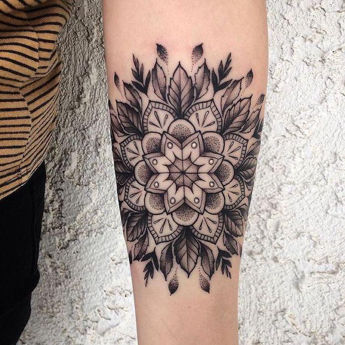 Forearm Mandala Flower Tattoo White Wall Yellow Black Striped Top Black Pants In 2020 Mandala Thigh Tattoo Mandala Tattoo Sleeve Lotus Mandala Tattoo