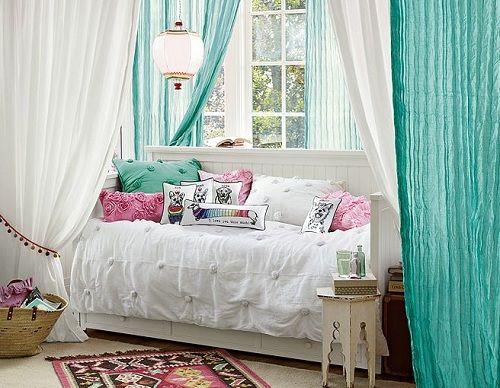 Decorating Bedroom for Teen Girl using Twisted Sheer Curtain Crinkle Beadboard Bedroom
