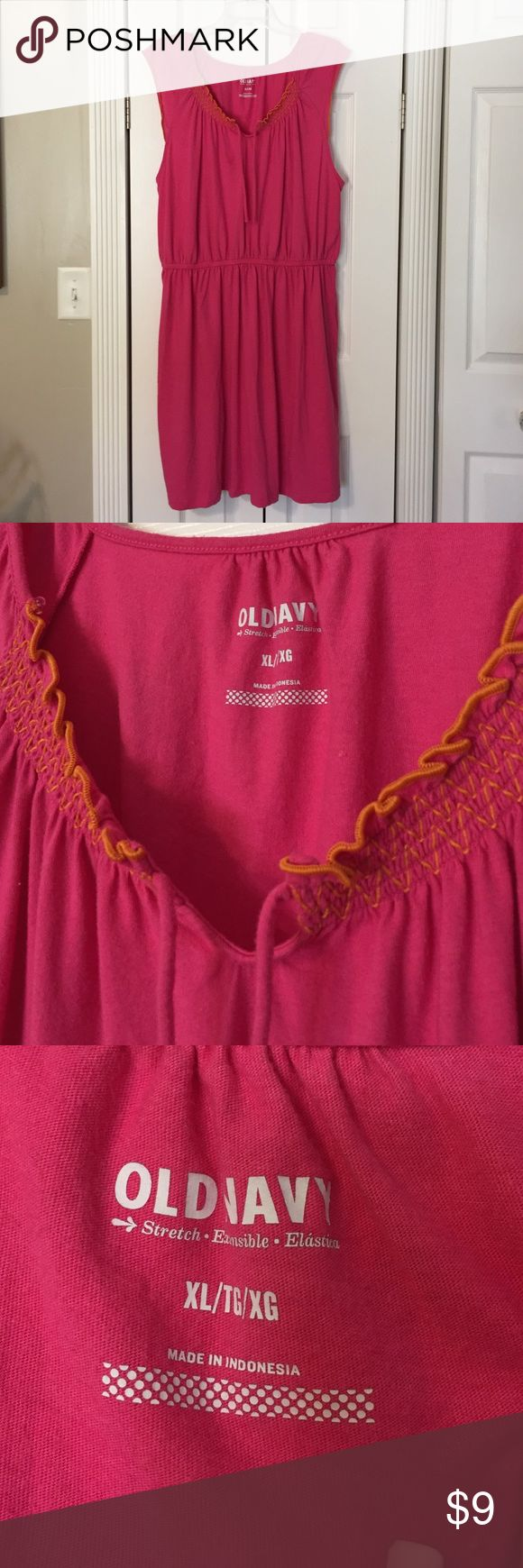 Hot Pink Sundress w/ Orange Stitching stitching is on front (photo 2) and ON cap sleeve trim. Old Navy Dresses