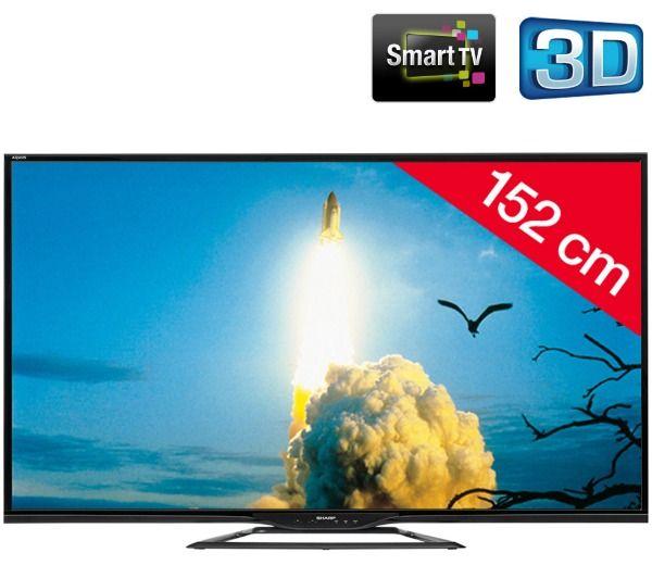 TV Led 3D Carrefour, achat SHARP AQUOS LC-60LE651EMK2 pas cher - noir - Téléviseur LED 3D Smart TV prix promo Carrefour Online 799.00 € TTC au lieu de 1 009.22 €
