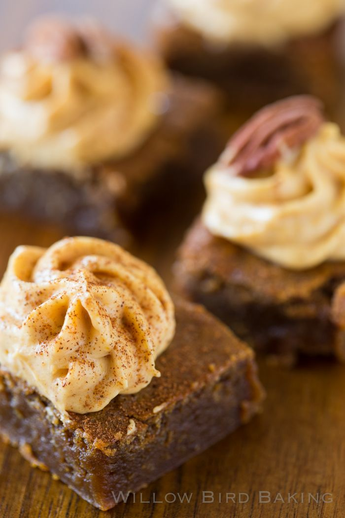 Chewy Gingerbread Bars with Pumpkin Cream Cheese Frosting