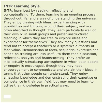 Essays on learning styles and personality types