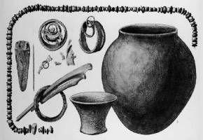 Cultura de El Argar. 2º Milenio a.c. Tumba 9 de El Argar con ajuar perteneciente a la tercera categoría social femenina (Siret y Siret 1890: lám. 36)