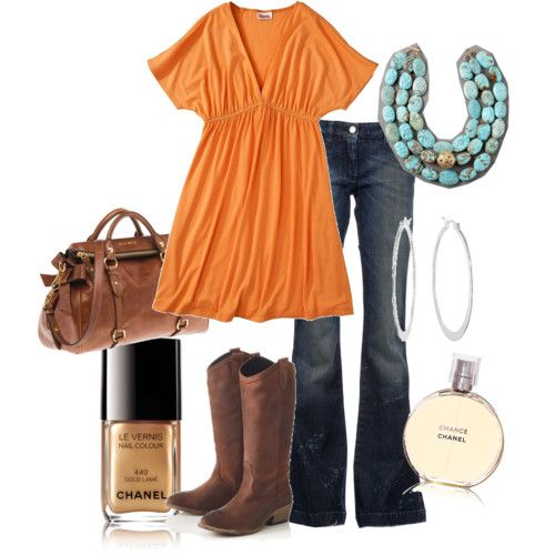 Orange shirt and it looks comfy!: Colors Combos, Cowboy Boots, Fashion, Style, Clothing, Orange And Turquoise, Fall Outfit, Brown Boots, Orange & Brown Country Outfit