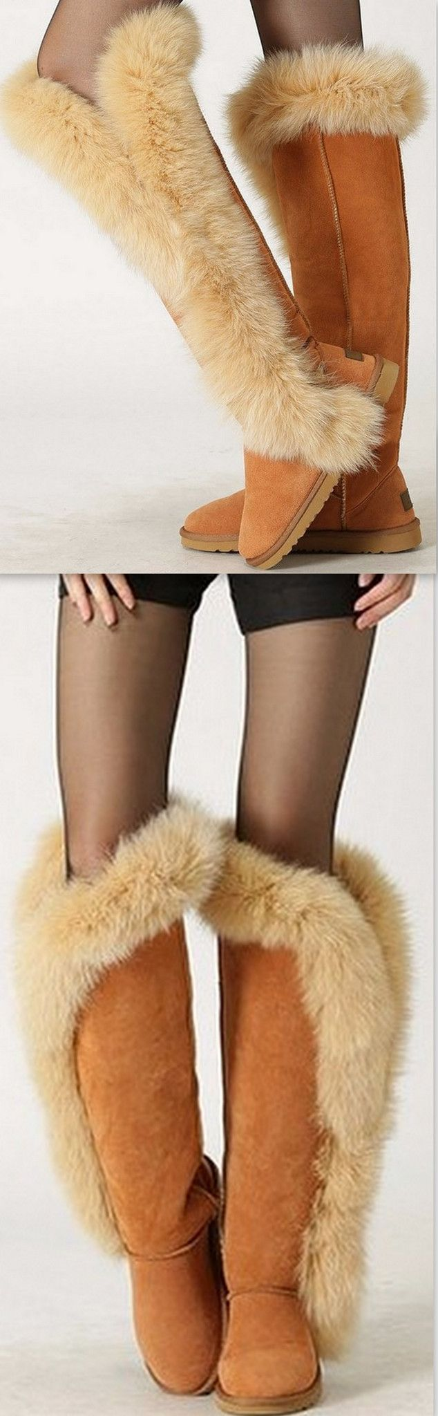 Fur & Suede Leather Flat Knee Boots-Tan