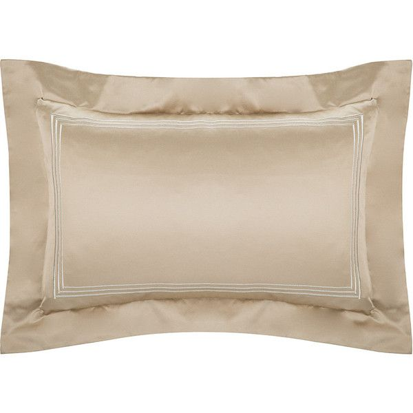 Pratesi Tre Righe Lamé Pillowcase - 50x75cm - Bronze ($370) ❤ liked on Polyvore featuring home, bed & bath, bedding, bed sheets, brown, brown pillow cases, embroidered sheet set, plain pillow cases, pratesi bedding and embroidered bedding